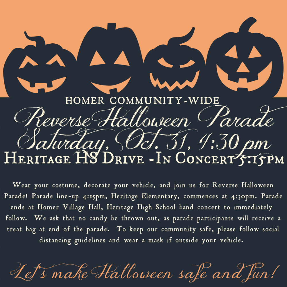 Homer Community-Wide Reverse Halloween Parade & HS Band Drive-In Concert 10/31/2020